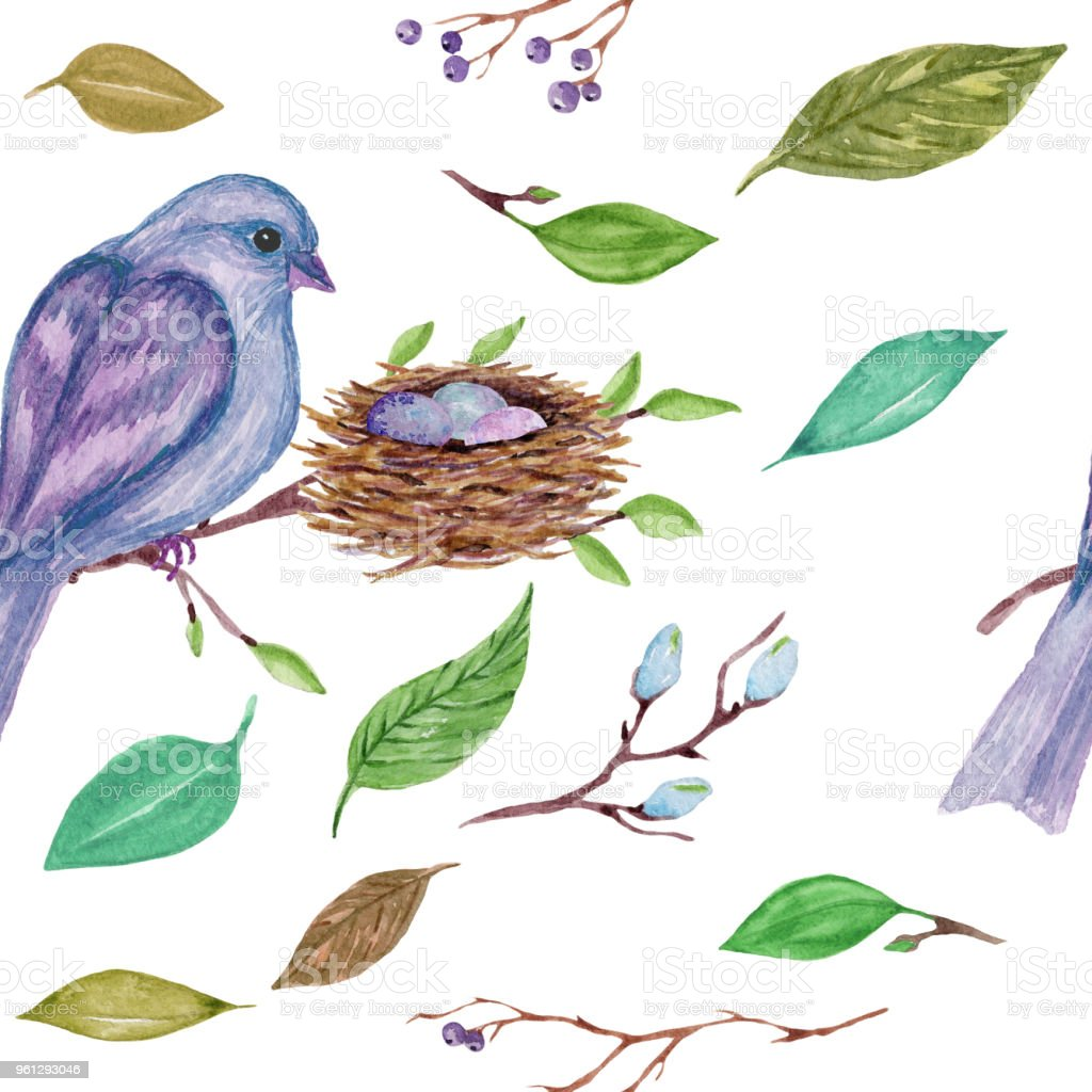 Watercolor seamless pattern with branches, leaves, birds on white background. vector art illustration