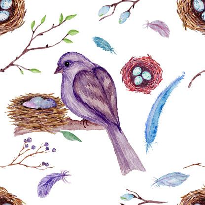 水彩無縫圖案與枝 葉 鳥在白色背景向量圖形及更多具有特定質地圖片
