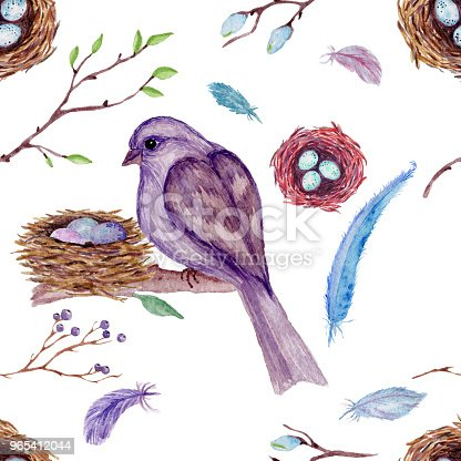 Watercolor Seamless Pattern With Branches Leaves Birds On White Background Stock Vector Art & More Images of Abstract 965412044
