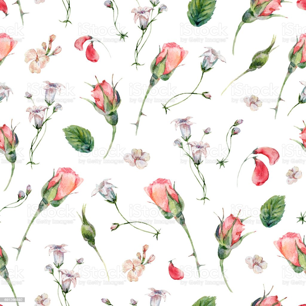 Watercolor seamless pattern with buds of rose vector art illustration