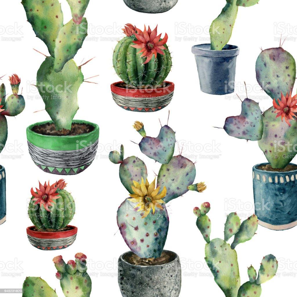 Suluboya Seamless Modeli Ile Bir Tencerede Kaktus El Opuntia Beyaz