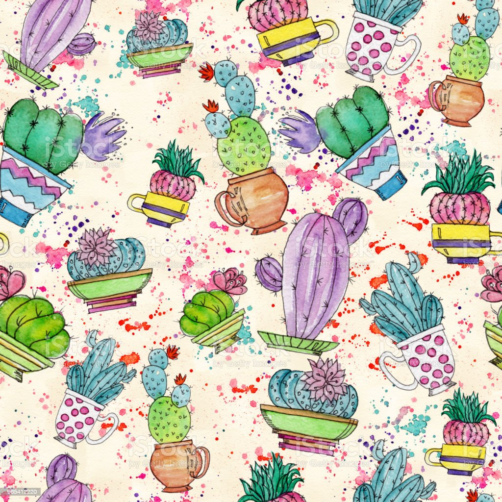 Watercolor seamless pattern with cactuses. royalty-free watercolor seamless pattern with cactuses stock vector art & more images of abstract