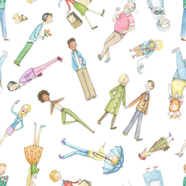 watercolor seamless pattern with cartoon people - old man standing background stock illustrations, clip art, cartoons, & icons