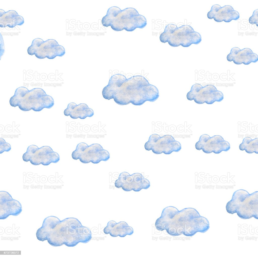 Bulut Ile Sulu Boya Dikişsiz Desen Stok Vektör Sanatı Akrilik
