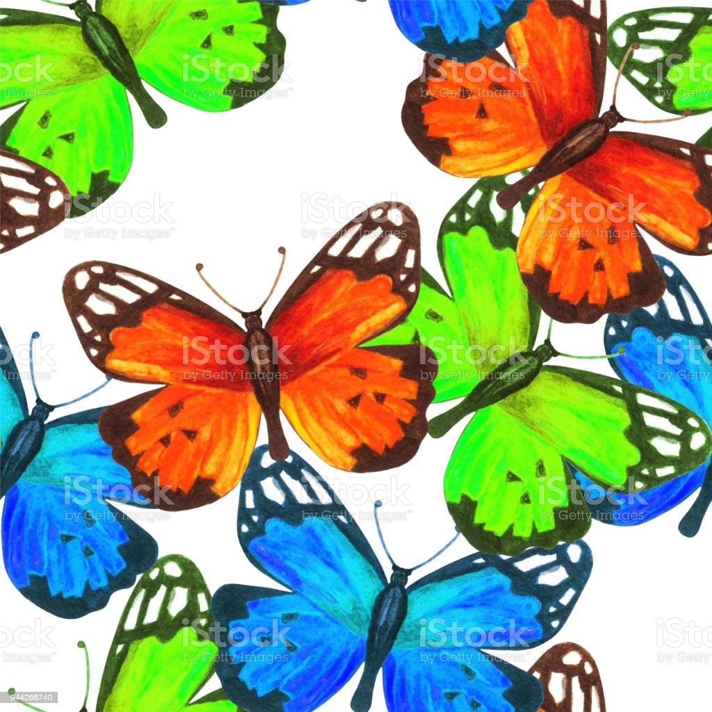 Sulu Boya Dikissiz Desen Renkli Kelebekler Ile Stok Vektor Sanati