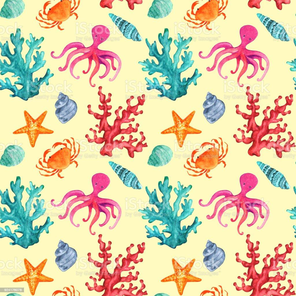 Sulu Boya Dikissiz Desen Mercanlar Deniz Kabuklari Ahtapot Yildiz