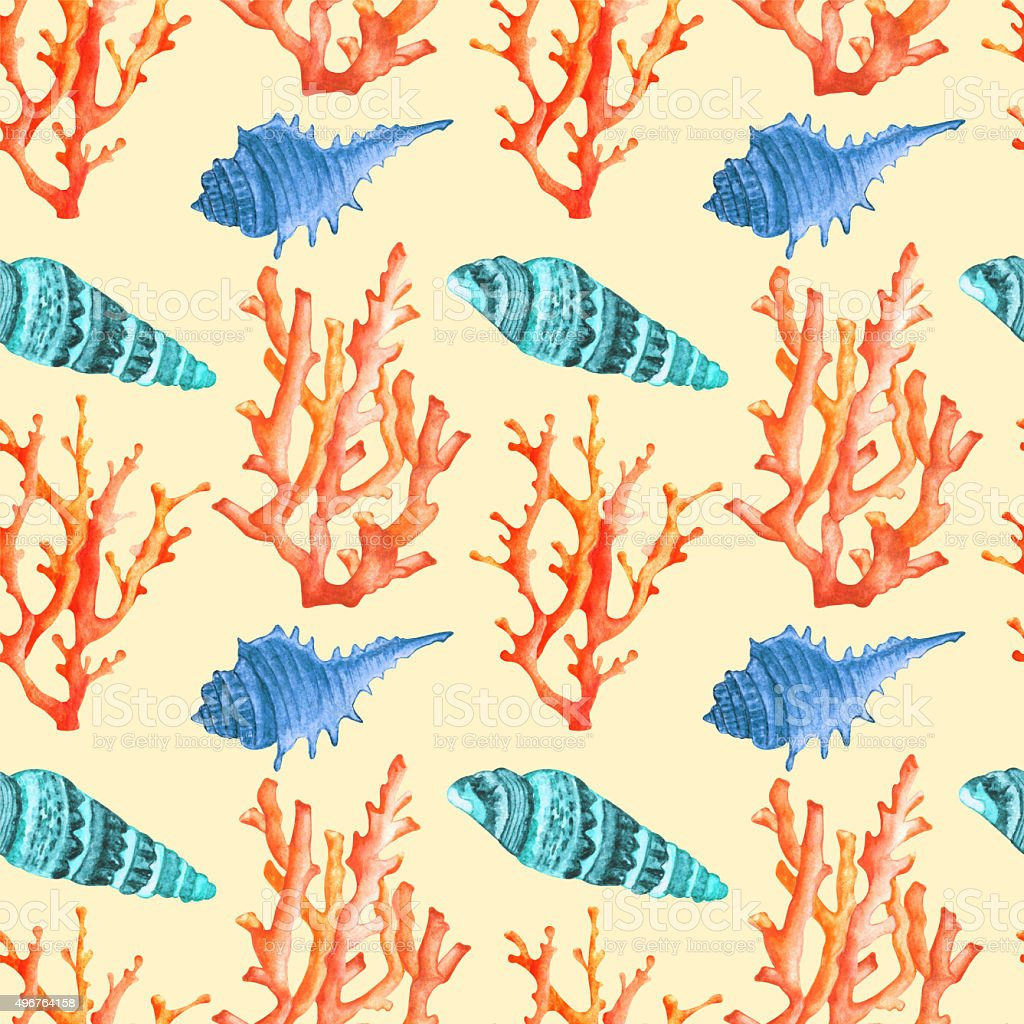 Watercolor seamless pattern with corals, seashells vector art illustration