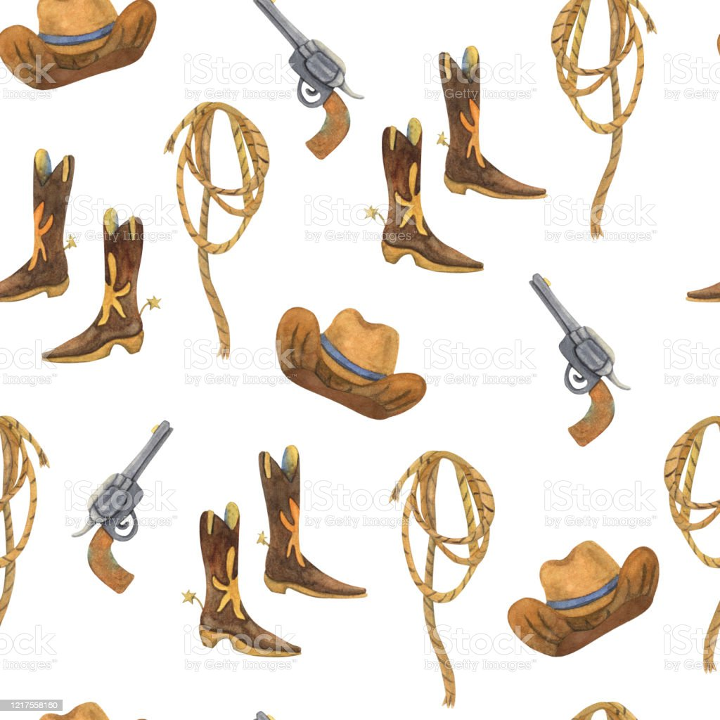 Watercolor Seamless Pattern With Cowboy Accessories Stock Illustration -  Download Image Now