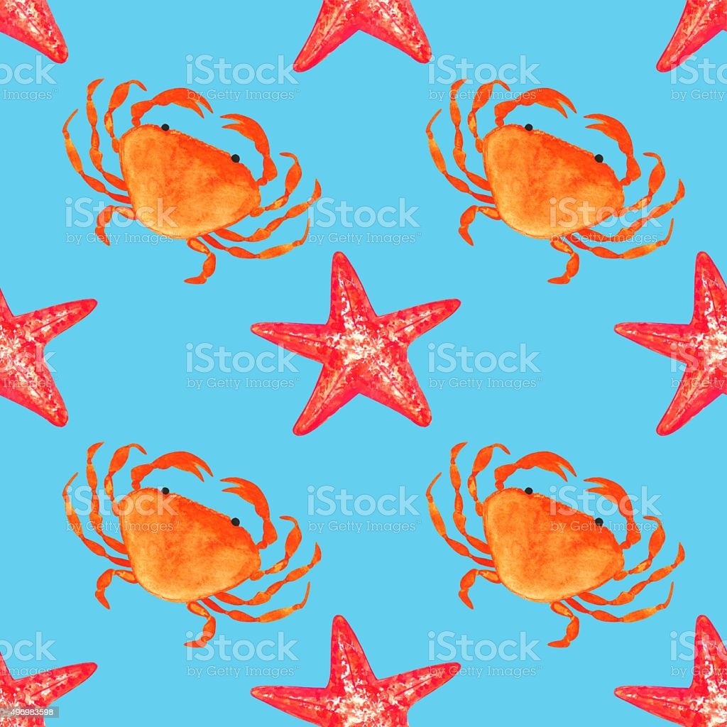 Watercolor seamless pattern with crab, starfish vector art illustration