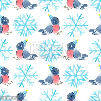 istock Watercolor seamless pattern with cute bullfinches in knitted hats and snowflakes. Cozy. Happy new year. Merry Christmas. Holiday illustration. It can be used in the design of winter holidays. 1315581940