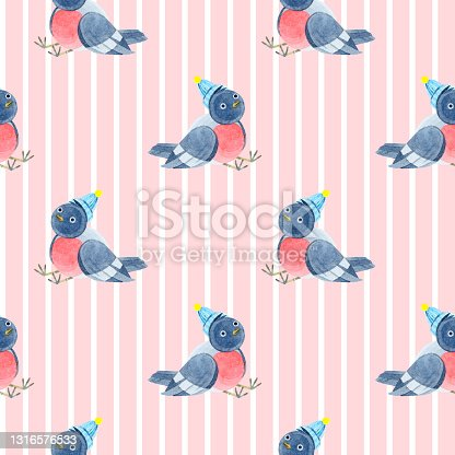 istock Watercolor seamless pattern with cute bullfinches in knitted hats. Cozy autumn. new year. Merry Christmas. Holiday illustration. It can be used in the design of winter holidays and children's design. 1316576533