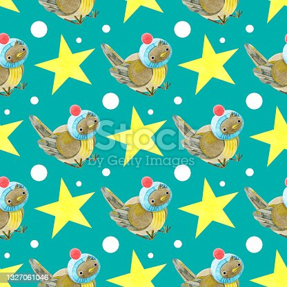 istock Watercolor seamless pattern with cute sparrows in knitted hats. Cozy autumn. New year. Merry Christmas. Holiday illustration. It can be used in the design of winter holidays and children's design. 1327061046