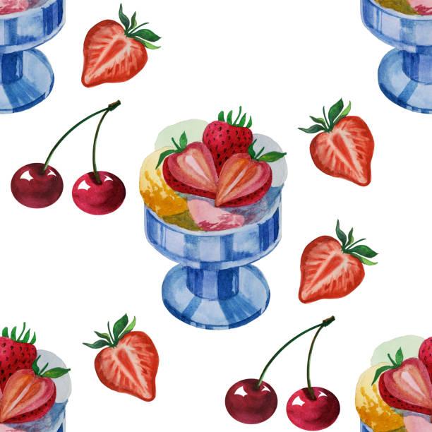 水彩無縫圖案與美味的霜淇淋。手繪插圖 - bar 幅插畫檔、美工圖案、卡通及圖標