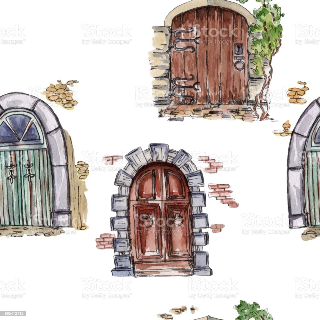 Watercolor seamless pattern with fairytale doors. Rustic background. royalty-free watercolor seamless pattern with fairytale doors rustic background stock vector art & more images of antique