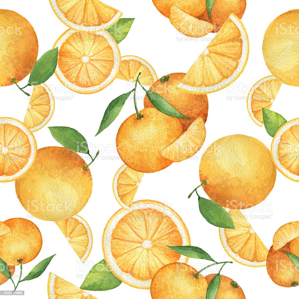 Watercolor seamless pattern with fresh oranges. vector art illustration