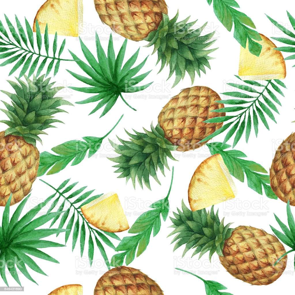 Watercolor seamless pattern with fresh pineapples. - Illustration vectorielle