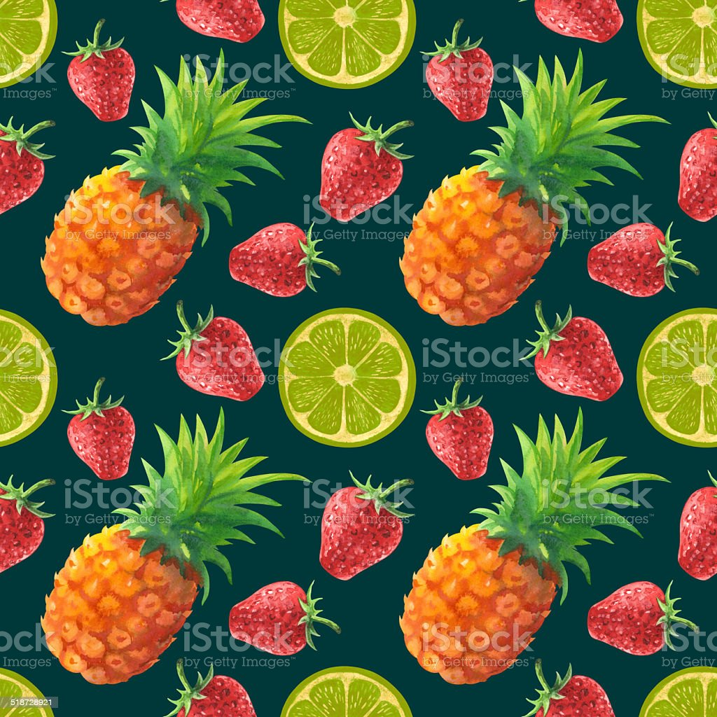 Watercolor seamless pattern with fruits and berries vector art illustration