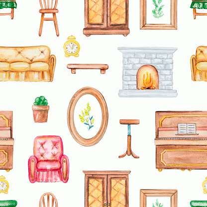 Watercolor seamless pattern with furniture