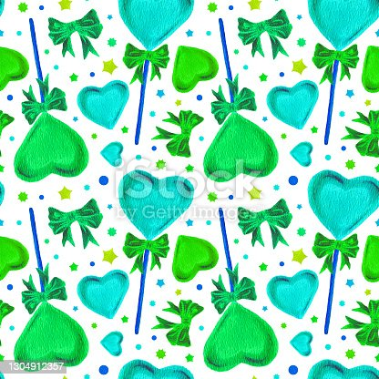 istock Watercolor seamless pattern with Heart Lollipops and Pink Bows. Bright illustrations for gift paper, packaging, textile design, stationery, scrapbooking and patchwork. Valentine's Day White background 1304912357