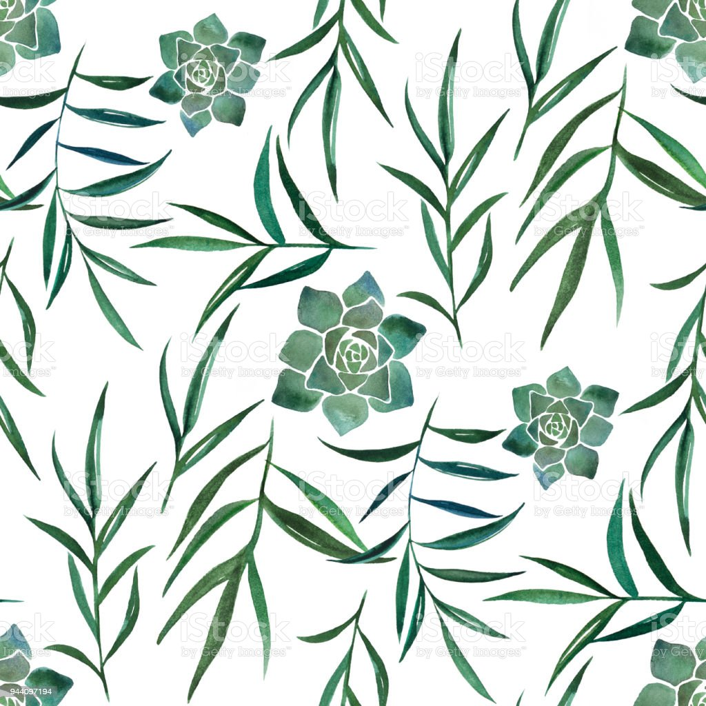 Watercolor seamless pattern with leaves and succulents vector art illustration
