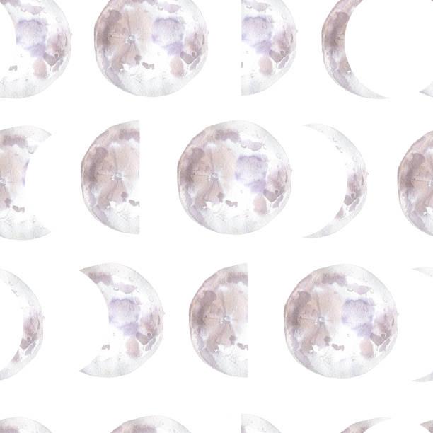 Modèle sans couture d'aquarelle avec des phases de lune. Cycle mensuel - Illustration vectorielle