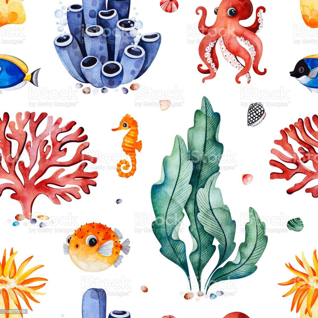 Sulu Boya Dikissiz Desen Cok Renkli Mercan Deniz Kabuklarini