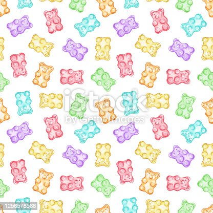 Watercolor seamless pattern with multicolored marmalade jelly bears