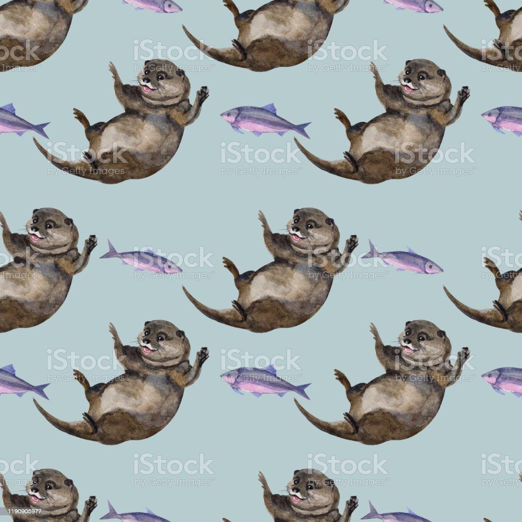 カワウソの手描画装飾的な背景と水彩シームレスなパターン織物布壁紙