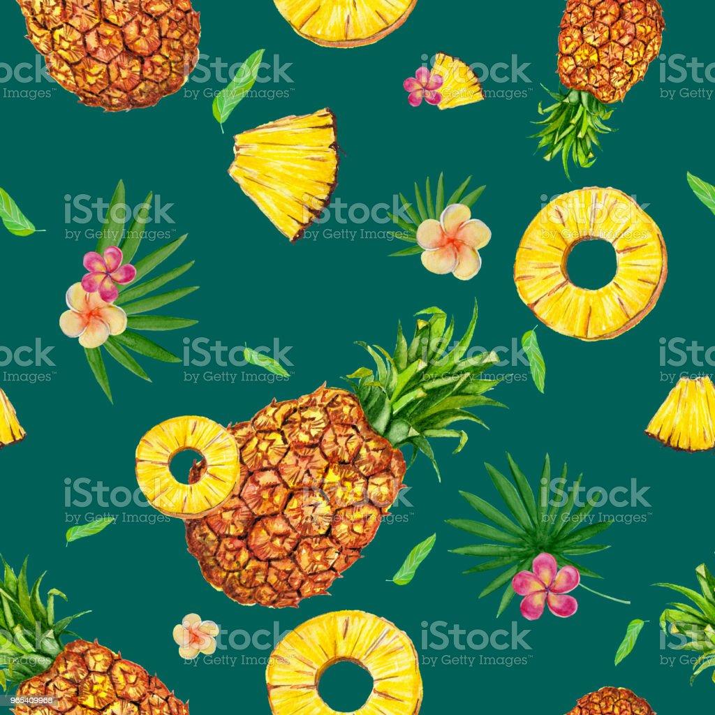 Watercolor seamless pattern with pineapples. watercolor seamless pattern with pineapples - stockowe grafiki wektorowe i więcej obrazów ananas royalty-free