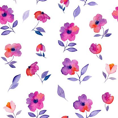 핑크 꽃 수채화 완벽 한 패턴입니다 0명에 대한 스톡 벡터 아트 및 기타 이미지