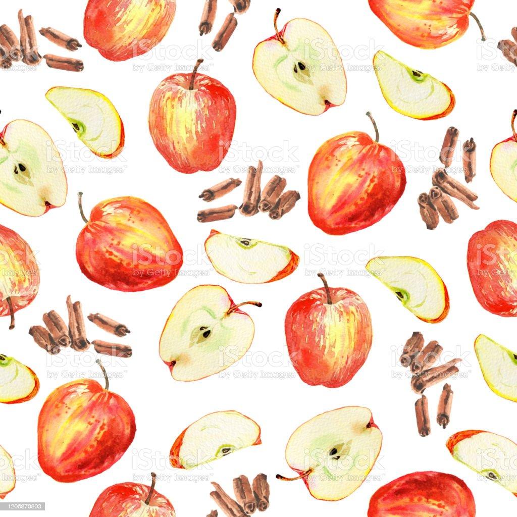 白い背景に赤いリンゴスライスシナモンスティックを持つ水彩シームレスパターン手描きと塗装居心地の良い秋の気分 まぶしいのベクターアート素材や画像を多数ご用意 Istock