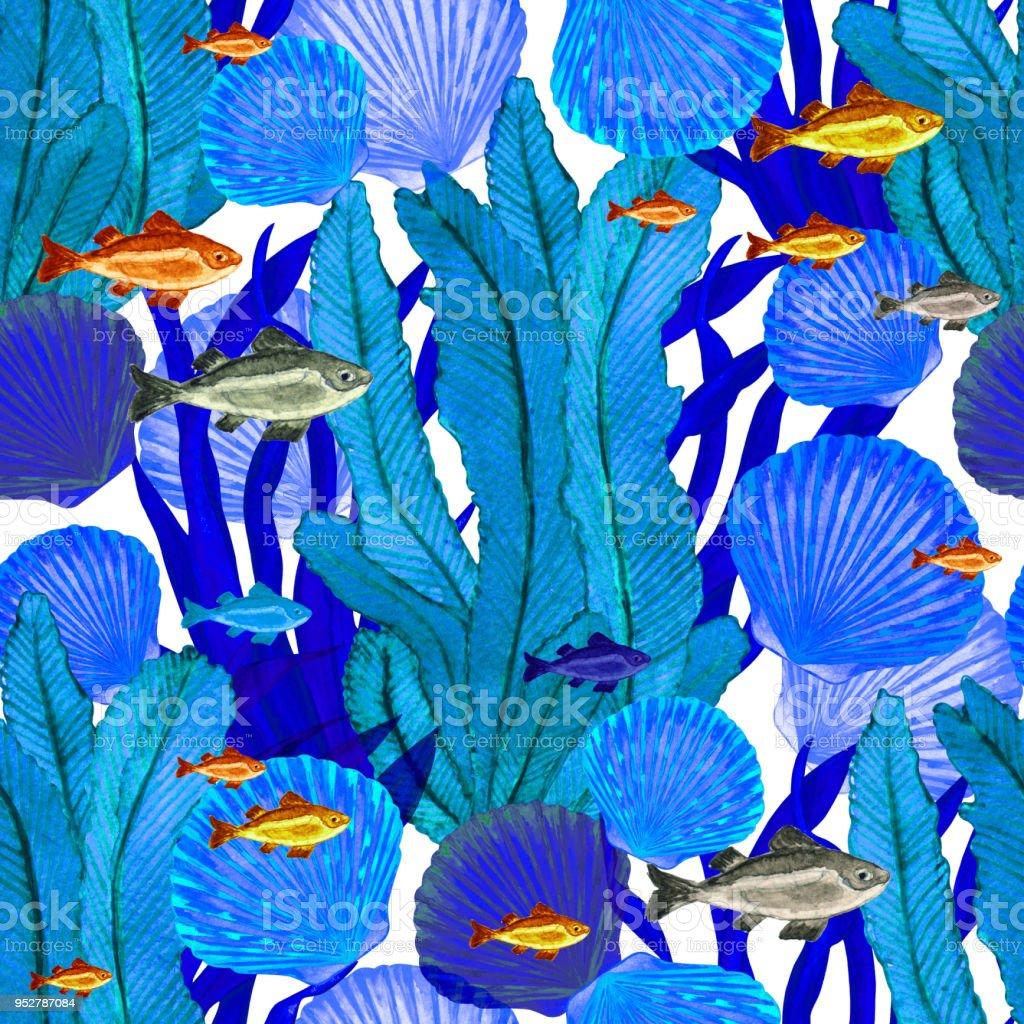 Sulu Boya Dikişsiz Desen Ile Deniz Kabukları Deniz Yosunu Stok