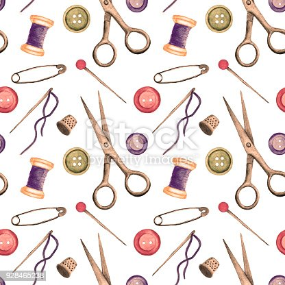 Watercolor seamless pattern with sewing tools on white background. Hand painting on paper