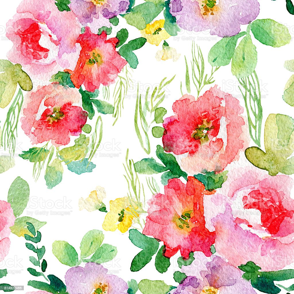 Watercolor Seamless Pattern With Simple Colorful Flowers Royalty Free