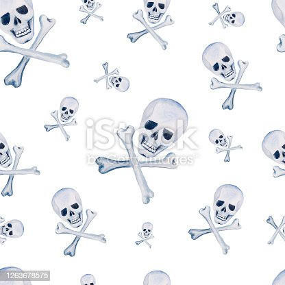 istock Watercolor seamless pattern with skull with bones on white background 1263678575