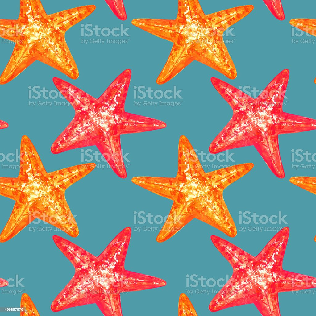 Watercolor seamless pattern with starfish vector art illustration