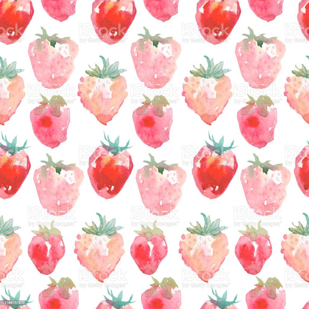 テクスチャル生地や壁紙のためのイチゴと水彩シームレスなパターン