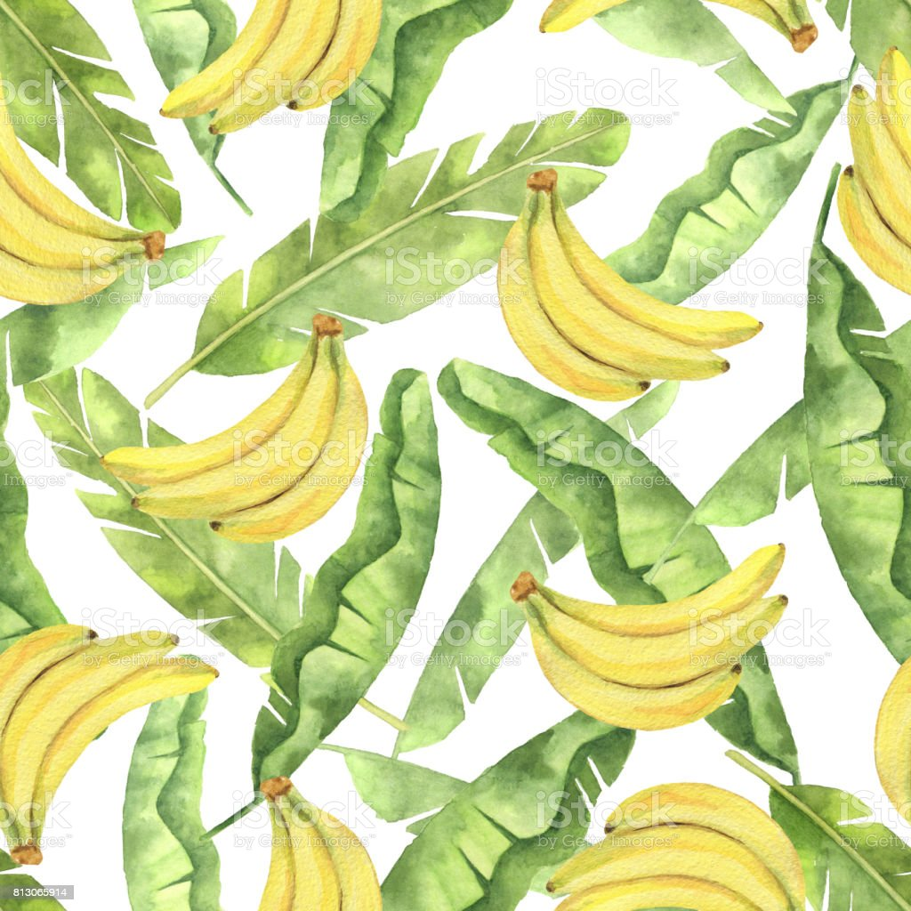 Watercolor seamless pattern with tropical green leaves and yellow bananas isolated on white background. vector art illustration