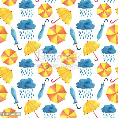 Watercolor seamless pattern with umbrellas, clouds and rain. Cute hand painted illustration on white background. Seasonal autumn spring decoration for children, textile, cards design, wrapping paper