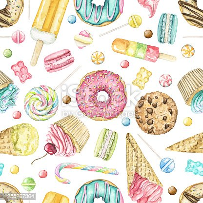 Watercolor seamless pattern with various bright sweets