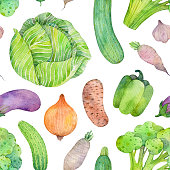 istock Watercolor seamless pattern with vegetables on white background. Hand drawn food illustration. 1301162181