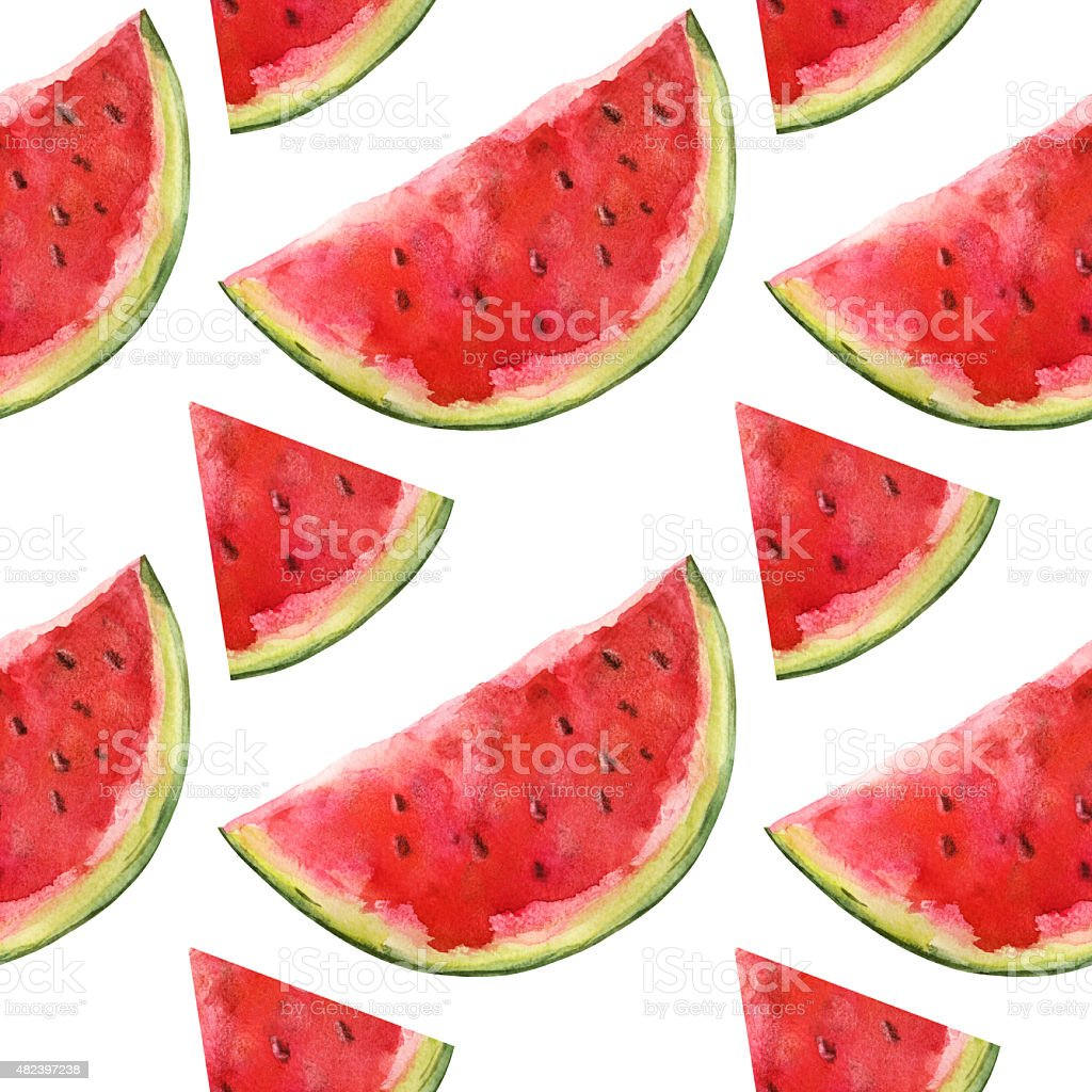 Watercolor seamless pattern with watermelons slices vector art illustration