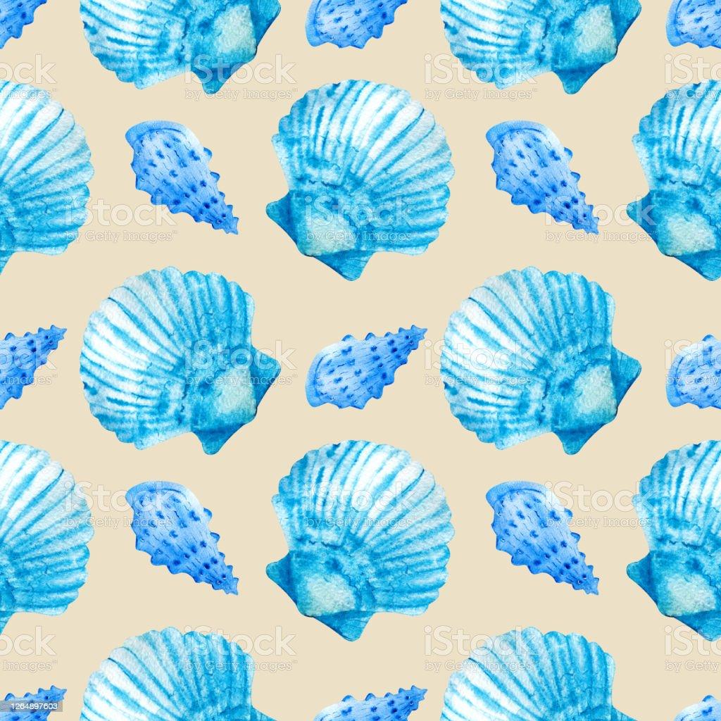 ベージュの背景に青い貝殻を持つ水彩シームレスなパターンはがきパターンバナーポスター航海壁紙ギフトラッピングや衣類のプリントに最適 イラストレーションのベクターアート素材や画像を多数ご用意 Istock