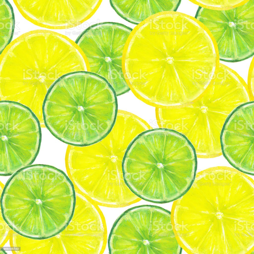Watercolor Seamless Texture With Slices Of Lemon And Lime On White Background Stock ...