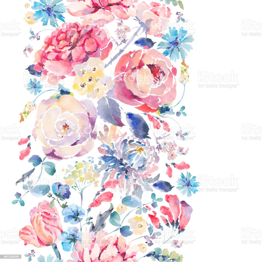 Watercolor seamless vertical border with chrysanthemums, roses vector art illustration