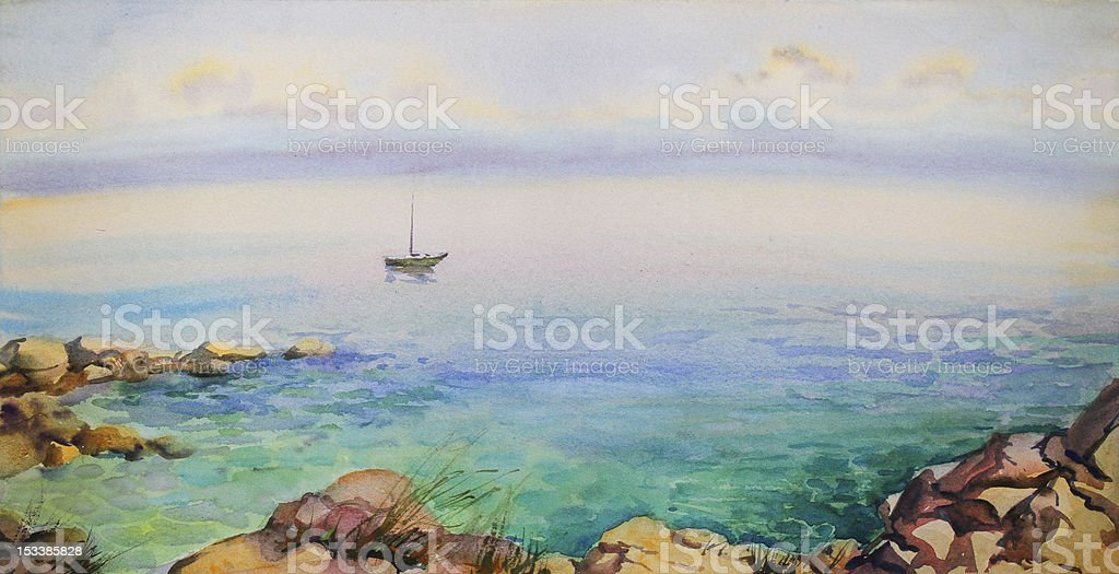 Watercolor seascape. royalty-free watercolor seascape stock vector art & more images of adriatic sea