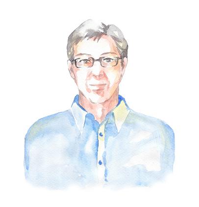 Watercolor senior man