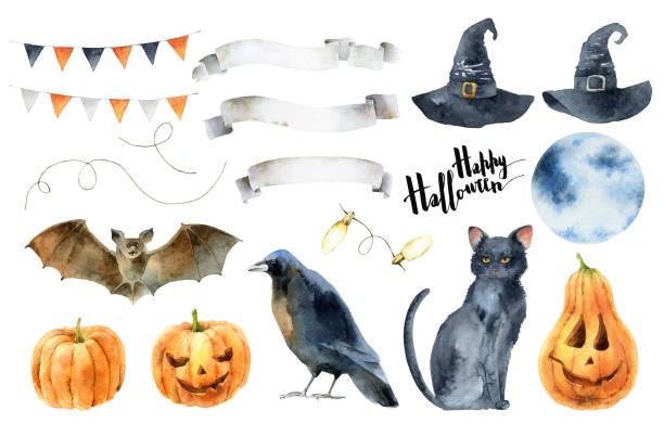 illustrazioni stock, clip art, cartoni animati e icone di tendenza di watercolor set elements for halloween - mika