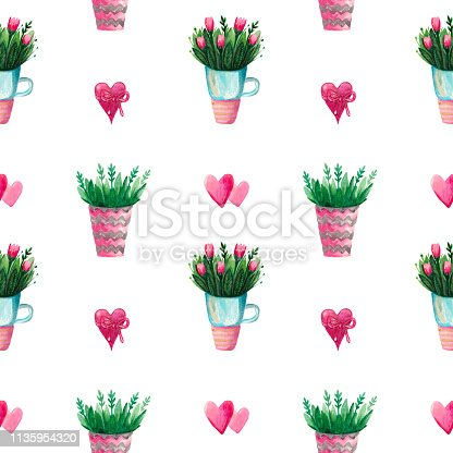 Watercolor set is a collection of spring flowers of tulips in a vase Flowering plants for Botanical printing seamless pattern