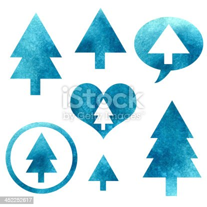 istock Watercolor set isolated Christmas trees 452252617